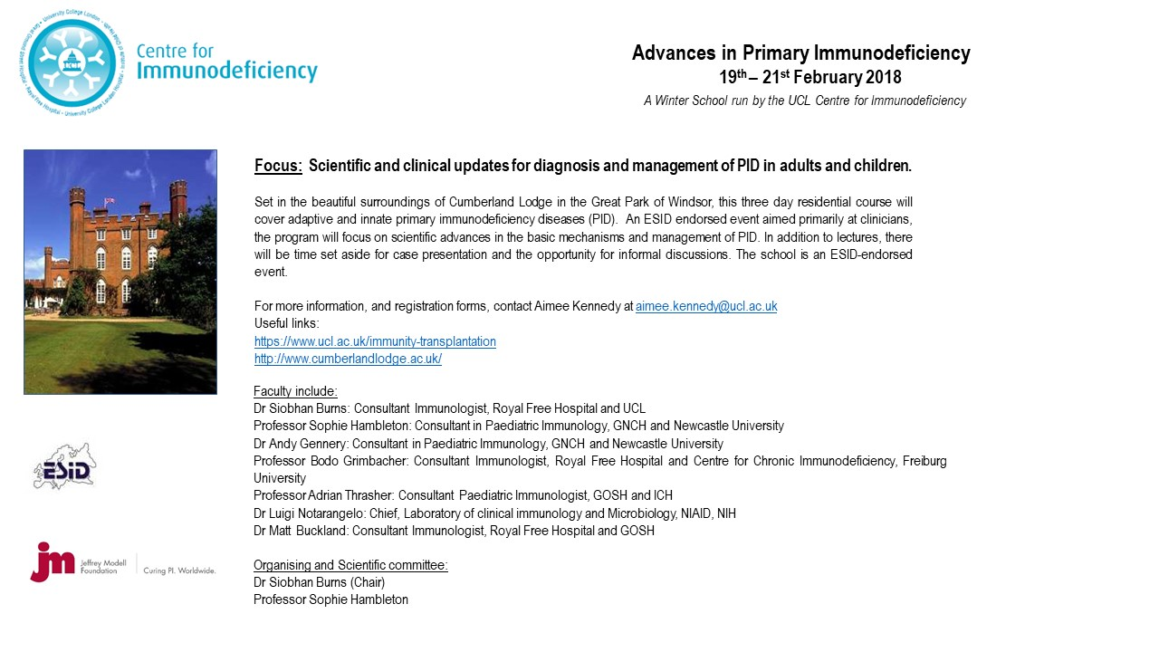 Advances in Primary Immunodeficiency 19th-21st Feb 2018